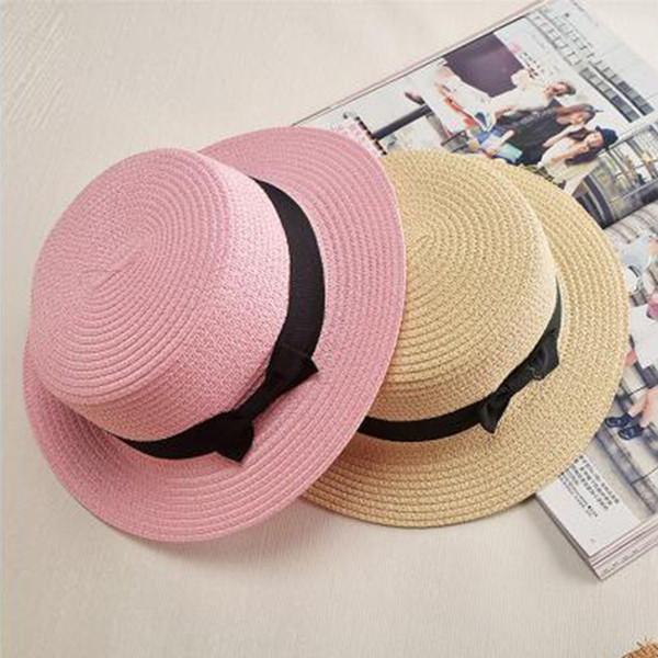 Lady Boater sun hat Ribbon Round Flat Top Straw Fedora Panama Hat summer caps for women straw hat women's hats gorras