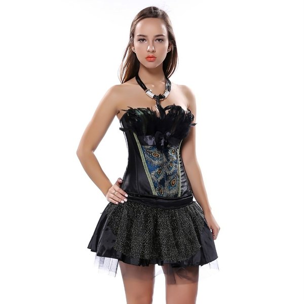 Sexy Feather Lace trim peacock Embroidery Corset Dress Slim Body Shaper Corset with tutu Skirt Free Shipping