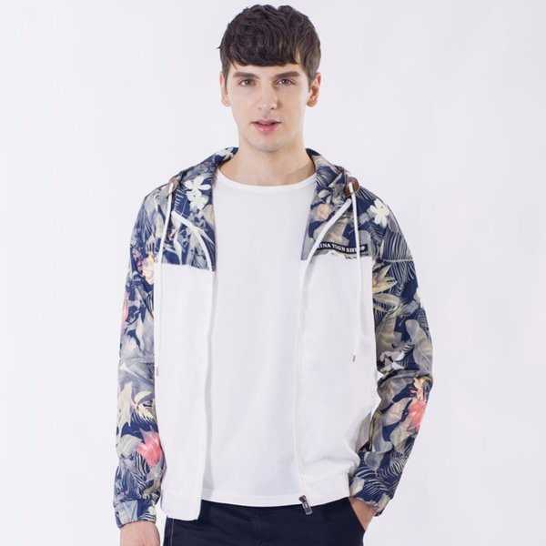 2017 горячие цветочные бомбардировщик куртка мужчины хип-хоп Slim Fit цветы пилот бомбардировщик куртка пальто мужская с капюшоном работает куртки