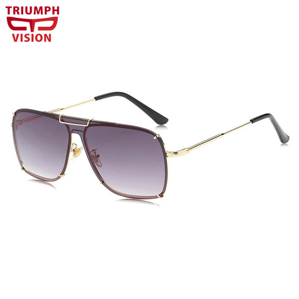 VISION Flat Top Gradient Sunglasses for men High Fashion Brand Design Shades Oversized Square Oculos de sol
