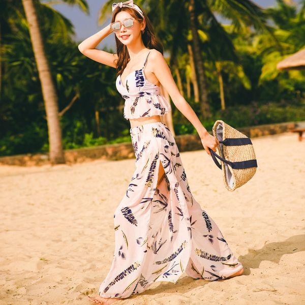 Femmes maillot de bain cool Sexy élégant vacances sentiments amoureux romantique jupe fluide fluide réglable double bretelles épaules nues