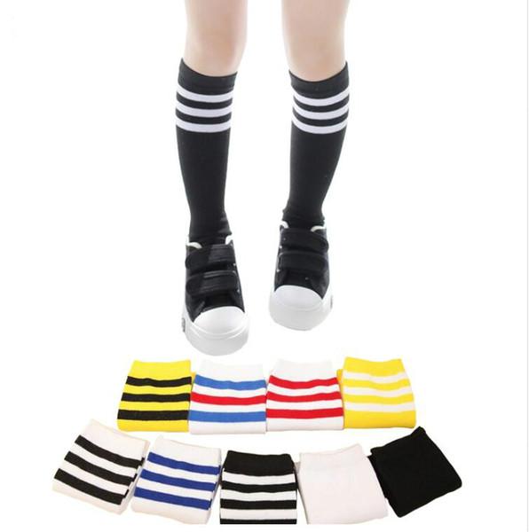 Çocuklar Için Diz Yüksek Çorap Kız Erkek Futbol Çizgili Pamuk Spor eski Okul Beyaz Çorap Paten Çocuk Bebek Uzun Tüp Bacak Sıcak