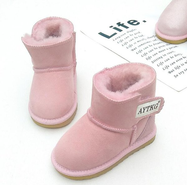 6379d23c04d Fur Children Boots Thick Warm Shoes Cotton Padded Suede Buckle Boys Girls  Snow Boots Kids Waterproof Real Fur Baby Boots Youth Boots Boys Toddler  Boys ...