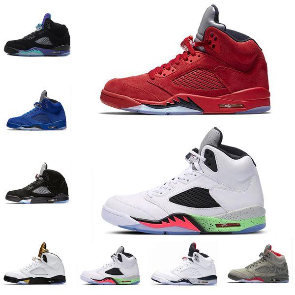 Cheap 2018 5s Men Basketball Shoes OG Black Metallic Red Blue Suede 5 Men Basketball Shoes Sneaker Size 7-13