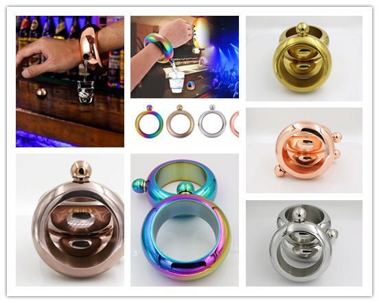 Bangle Bracelet Hip Flask Stainless Whiskey Alcohol Drinkware Funnel UK Ship