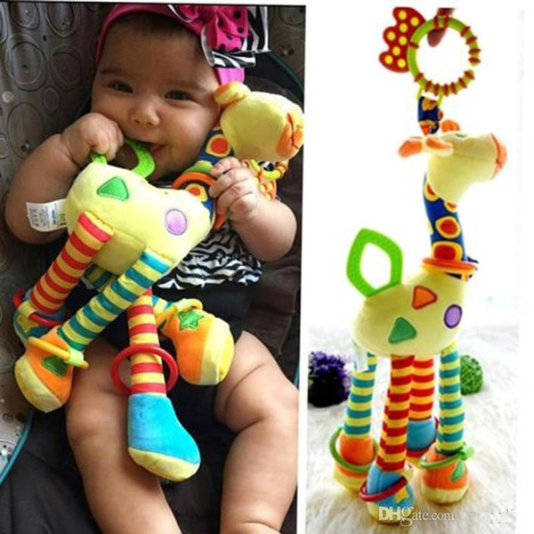 Plush Infant Baby Development Soft Giraffe Animal Handbells Rattles Handle Toys Hot Selling WIth Teether Baby Toy b982
