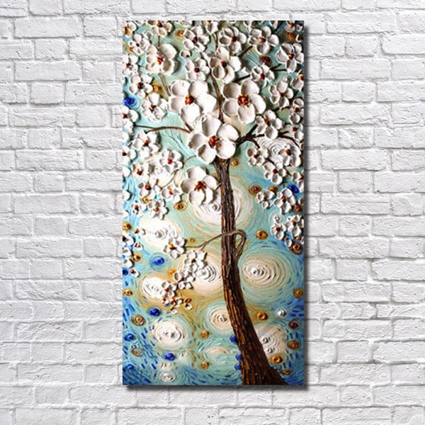 White Flower Modern art thick oil Handmade Abstract Oil Painting on Canvas Pictures wall art picture Artwork Home Decor image