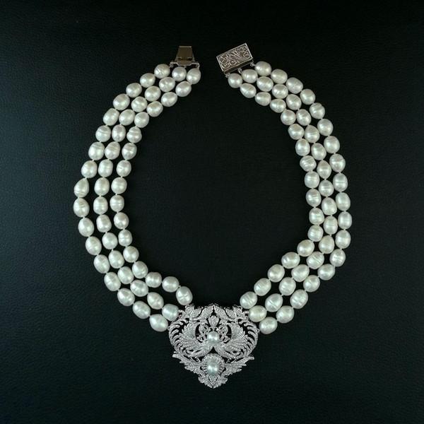 Charme 3 fili 9-11mm riso bianco perla coltivata d'acqua dolce micro intarsio zircone doppia fenice accessori fibbia fiore maglione collana