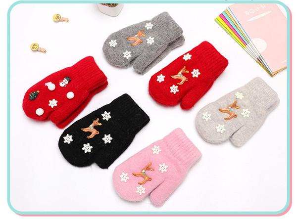 Weihnachtshandschuhe Winter neue Kinder Cartoon Handschuhe stricken Schnee Doppelschicht warme dicke Handschuhe für 6 Farben
