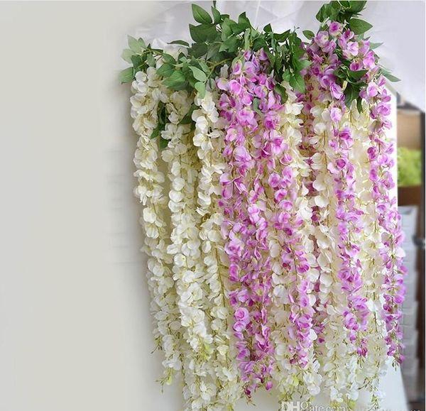 180cm Long White Hydrangea Garland Rattan Artificial Silk Wisteria Vine For Wedding Decoration Shooting Props Supplies