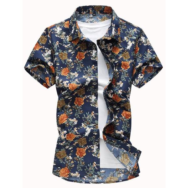Big Size Flower Print Shirt Vintage Male Shirts Dinner Party Wear Spring Summer Men Thin Cotton Tops Short Sleeve Boys Blouse