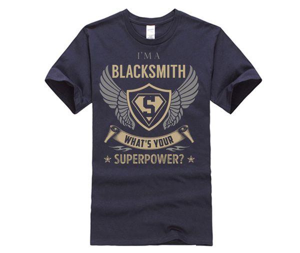 100% Algodão O-pescoço personalizado impresso T-shirt Ferreiro - Qual é o seu SuperPower