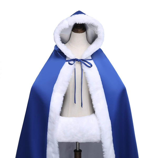 Hear Women's Warm Bridal Luxury Fur Wedding Hooded Cape Long Women Cloak H072