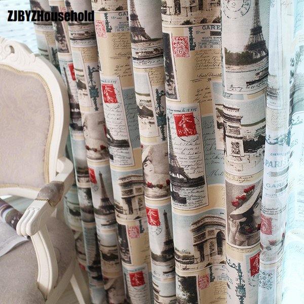 2018 New Curtains for Dining Living Bedroom Room Boys Study European Pastoral Tower Newspaper Attractions Shading Cloth
