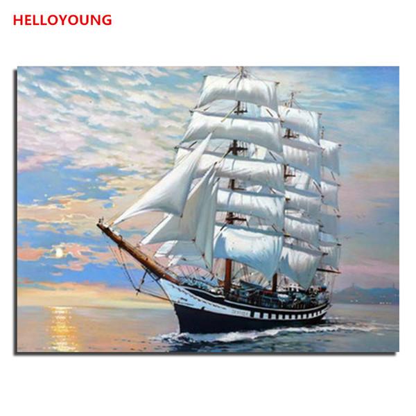 Mar cruzeiro barco Set Vela Pintura Digital DIY Pintado À Mão Pintura A Óleo por números pinturas a óleo pinturas chinesas de rolagem