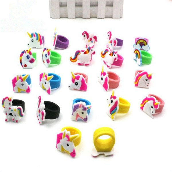 Unicorno Theme Party 10pc Unicorn Ring Child Rings Unicorn Party Favor Birthday Party Decorations Kids Wedding Gifts for GuestsS