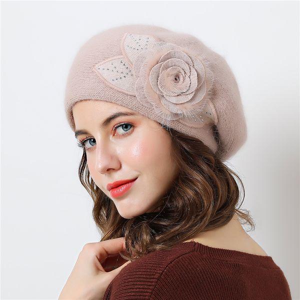 Double layer design winter hats for women hat rabbit fur for women's knitted hat Big flower cap beanies 2018 New Women's Caps D18110102