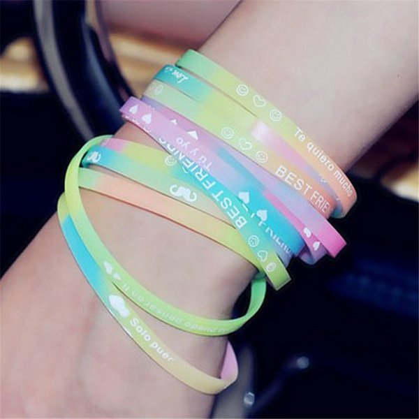 Printed Letters Luminous Silicone Sports Bracelets & Bangles for Women Fluorescent Rubber Fitness Thickening Wristband Bracelet