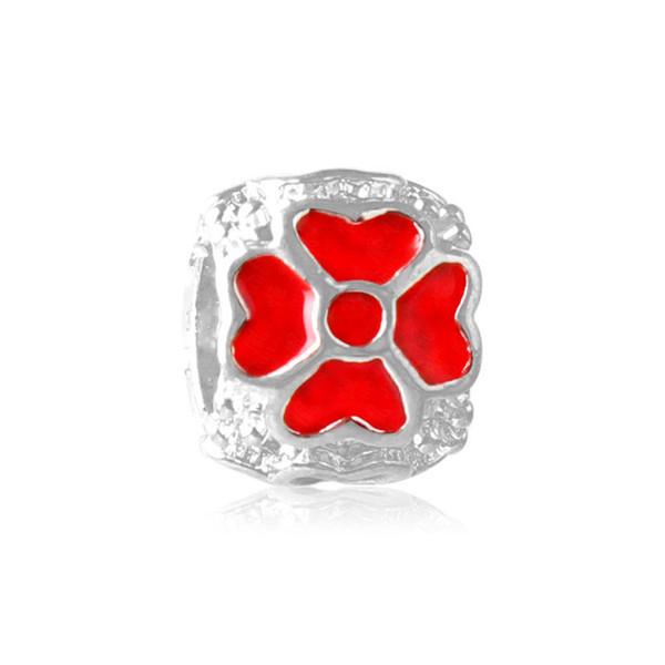 Esmalte vermelho Coração Flor Liga Charme Para Pandora Pulseira Cobra Cadeia Ou Colar de Moda Jóias Solto Talão Nova Chegada