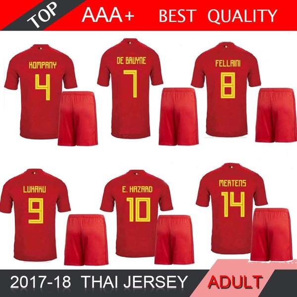 2018 Dünya Kupası Belçika Futbol Forması LUKAKU DE BRUYNE E. TEHLİKE Ev Kırmızı Futbol Gömlek MEUNIER Milli Takımı Formalar Erkek GÖMLEK Kısa