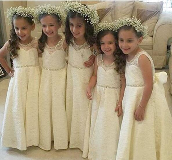 Free Shipping Princess Country Crystal Full Lace Flower Girl Dresses 2019 Toddler Long Pretty Kids First Holy Communion Dress
