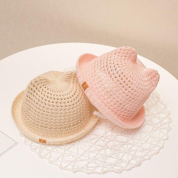 Baby Mädchen Kleinkinder Breathable gehäkelt Baumwolle Katze Ohr Sommer Cap für Baby Kinder Eimer Hut Größe 44-48cm
