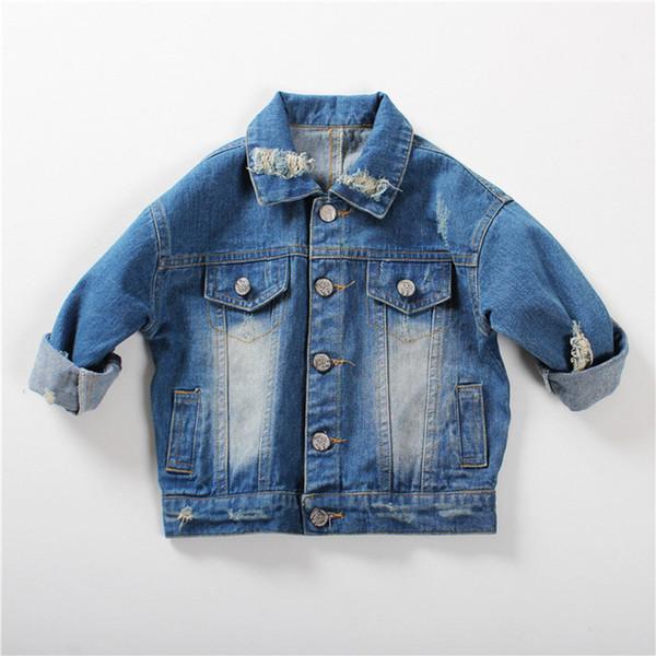 1-5Yrs Baby Jungen Mädchen Oberbekleidung Mantel Mädchen Loch Denim Jacken Mäntel 2018 Mode Frühjahr Kinder Outwear Mantel Kinder Jeansjacke