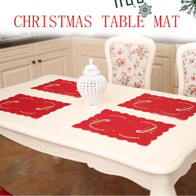 2019 430*280mm Christmas decorations pads tablecloth embroidered hollows pads Santa Clauses table tops xmas merry Christmas