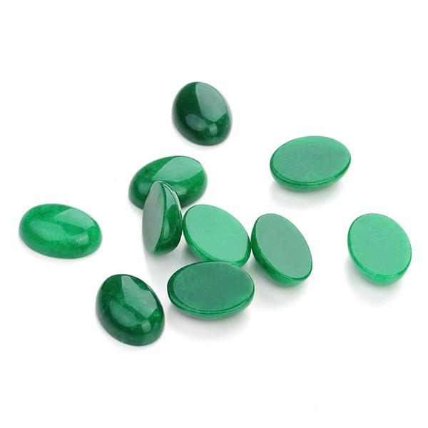 10pcs/lot 10*14/13*18/18*25mm Green Jade Cameo Cabochon Natural Stone Beads Diy Cabochon Setting Findings Jewelry Making F5018