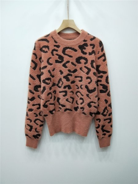 Women Sweater Clothing Good Quality Leopard Print Sleeve Head Imitation Mink Female Winter New Product Fashion In Stock