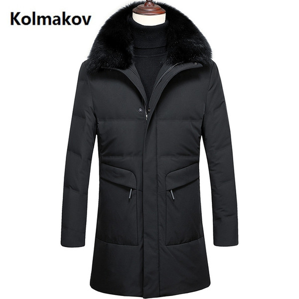 2018 Kış erkek Slim fit Aşağı Ceket erkekler Moda Rahat Kapşonlu Kalın sıcak 90% Beyaz Ördek Aşağı Uzun Ceket Erkek Parkas erkekler