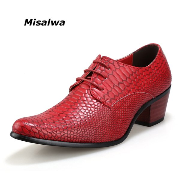 Red Snake Skin Pattern Leather Wedding Shoes Men British Fashion Shoes Dress 2017 Hot Sale Size 10