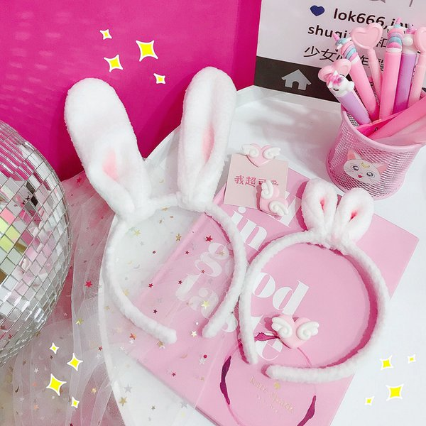 Pink girl heart plush rabbit ears hair hoop Japanese soft cute head hoop BBB 0 sharp weapon decoration hair girl