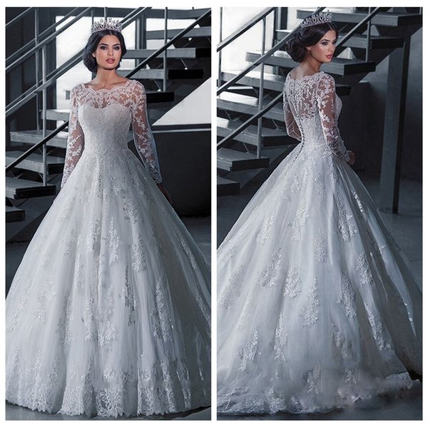 O-Neck Lace Appliques A-Line Wedding Dresses 2019 Retro Long Sleeves Bridal Gowns Cheap Custom Marrriage Wedding Wear For Ladies