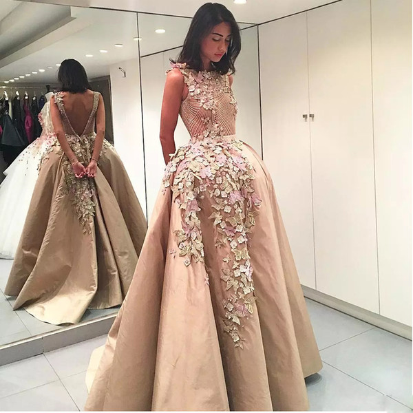 Champagne Butterflies Flowers Appliques Evening Dresses O-neck Backless Formal Prom Gowns Beading Satin Sweep Train Vestidos De Fiesta