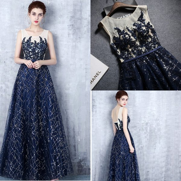 2018 Navy Blue Bling Beads Long Prom Dress Scoop Backless Sequins Evening Dresses Female Formal Party Dress Cheap vestidos de noiva
