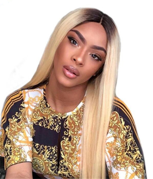 #1BT#613 Blonde Color Dark Roots Brazilian Non-Remy Human Hair Full Lace Wig Ombre Blonde 613 Color Human Hair Wigs