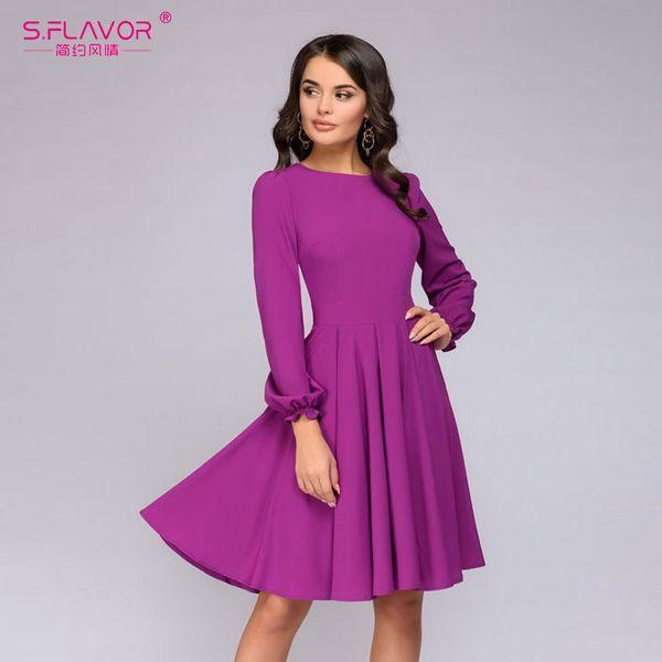 Compre Sflavor Vestido Casual Sólido 2019 Primavera Otoño Púrpura Vestido De Manga Larga Hasta La Rodilla Para Mujeres Elegantes Vestidos De Fiesta A