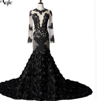 SoAyle Mermaid Long Sleeves Black Lace Rose Real Photo Evening Dresses Open Back Tulle Sexy Vestidos De Festa Robe De Soiree