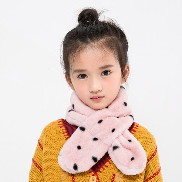 DRESSUUP Children's Muffler Cute Scarves Autumn Winter Warm Dot Plush Scarf Children Baby Boy Girls Kids Candy Neck Bib Scarf