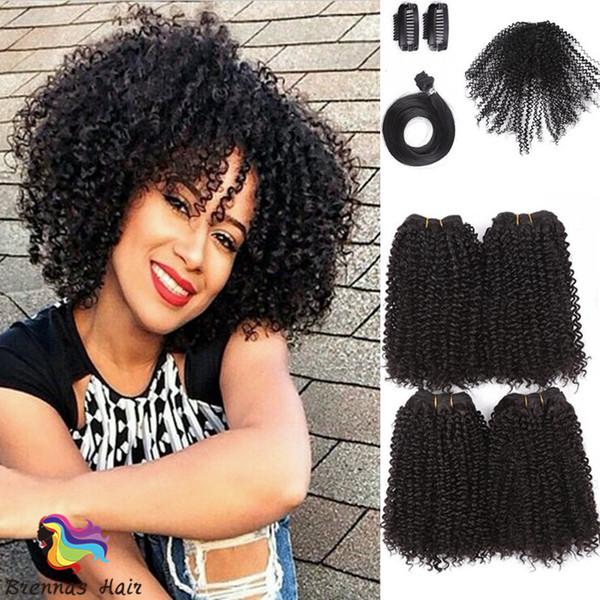 nuovo arrivo 8 pz / pacco capelli umani fibra sintetica afro crespi ricci 4 pacchi di capelli più 4 accessos trame di capelli jerry ricci piccolo arricciatura