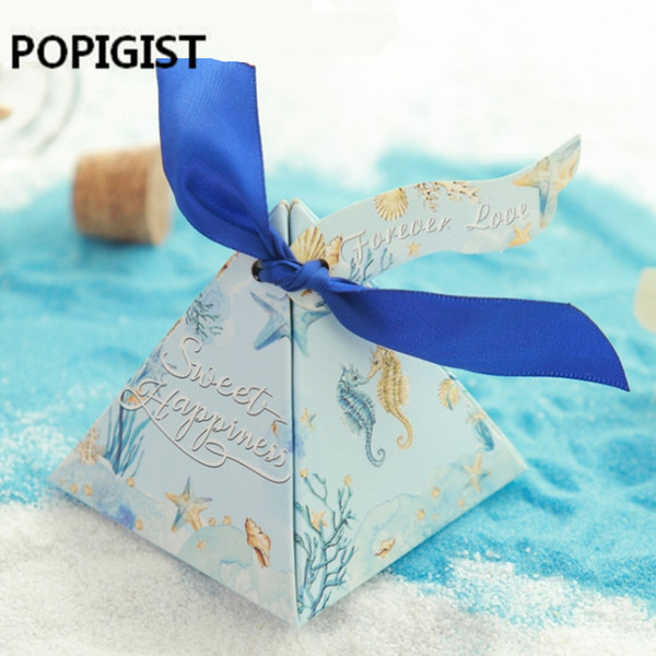 Baby shower Ocean Blue Candy box Elegant Lover Luxury Decoration Wedding Event Party Supplies Guest Paper Gift Favors Box 50pcs
