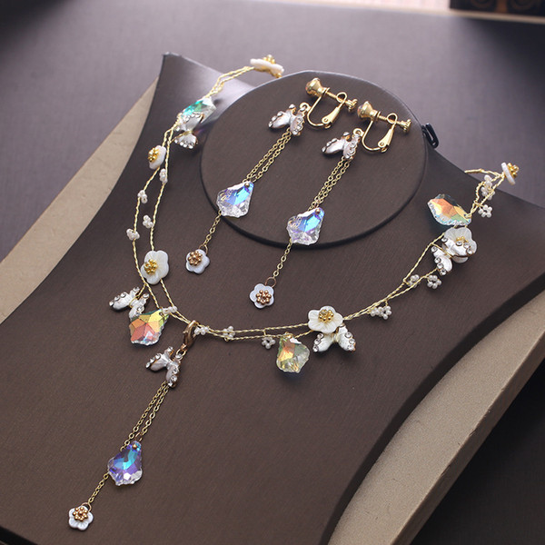Bride Artificial Crystal Necklace Earrings Set 2018 New Dress Accessories Butterfly Flower Gold Chain Necklace Colorful Tassel Earrings