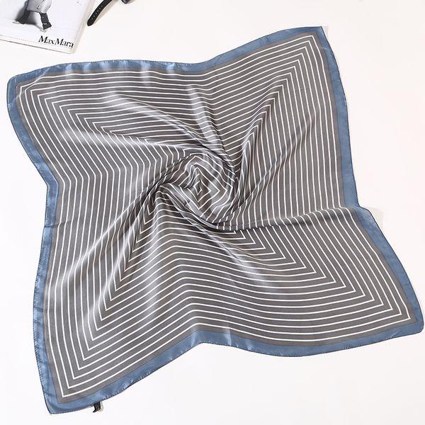 Женщины полосатый квадратный шарф имитировали шелковые шарфы леопарда стюардесса хозяйка дамы OffNeckerchief Foulard бандана 70x70cm