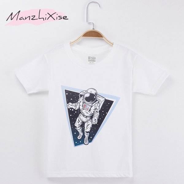 Children T-shirt Astronauts Space Design Cotton White Short Girl Tops Child Shirt Boy T Shirts Baby Kids Clothes Free Shipping