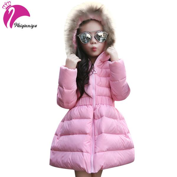 Großhandel Daunenjacke Für Mädchen Pelz Mit Kapuze Dicke Warme Parka Daunen Winter Kinder Kleidung Baumwolle Kinder Parkas Winterjacke Für Mädchen Von
