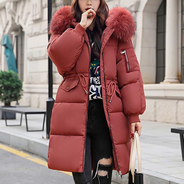 Plus Size Thick Warm Long Jacket Coat Women 2018 Winter Hooded Parka Coat Female Fur Collar Outerwear Ladies Parka Feminino