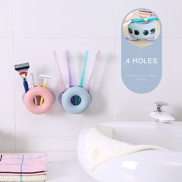 4 holes Wall Suction Toothbrush Holder Box Multifunction Brief Toothbrush Case For Bathroom Decoration Practical Accessories