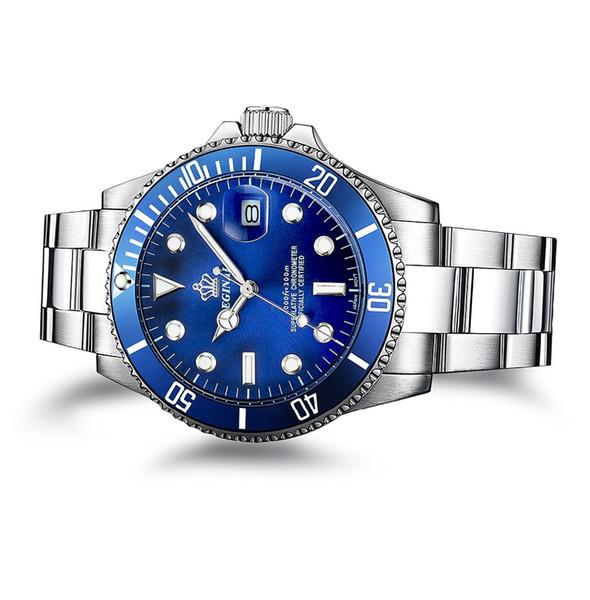 Luxus Reginald Uhr Männer Drehbare Lünette GMT Saphir Datum Edelstahl Sport blaues zifferblatt Quarz Uhr Reloj Hombre