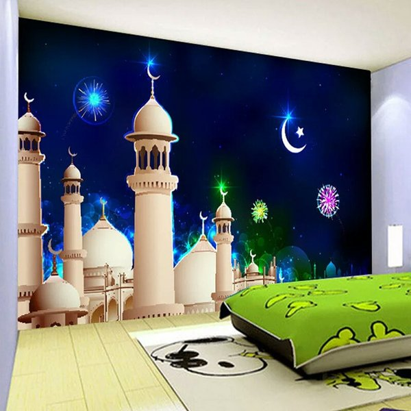 Custom Mural Wallpaper 3D Non-woven Cartoon Star Moon Castle Children's Room Bedroom Wall Decor Wallpaper Papel De Parede 3D
